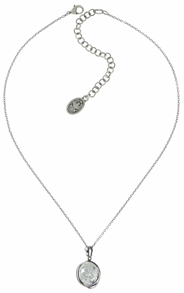 necklace pendant Sparkle Twist white antique silver ss 60
