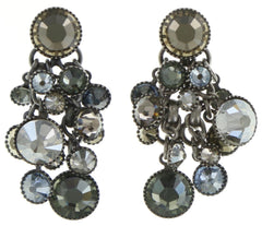 earring stud dangling Waterfalls grey/brown antique silver