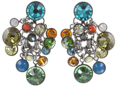 earring stud dangling Waterfalls multi/green antique silver