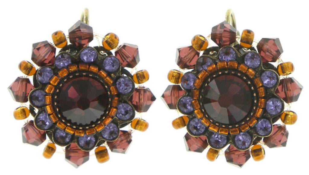 earring eurowire African Glam brown/lila antique brass