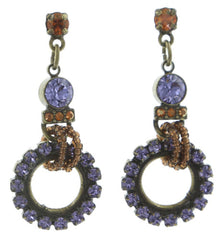 earring stud dangling African Glam brown/lila antique brass