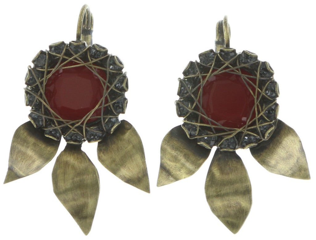earring eurowire dangling Queen of Elves black/red antique brass