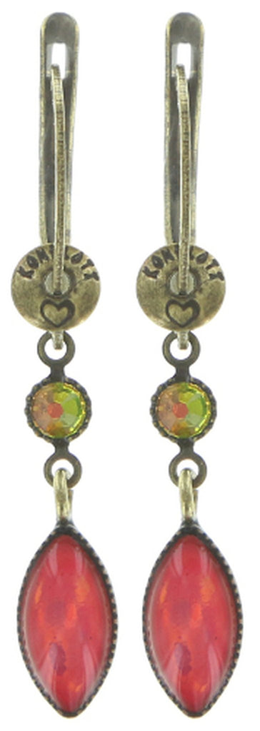earring dangling Dance with Navette multi antique brass