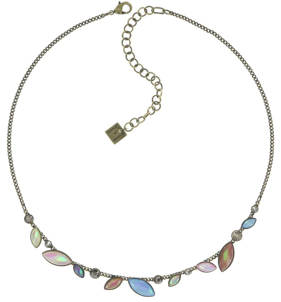 necklace Dance with Navette pastel multi antique brass