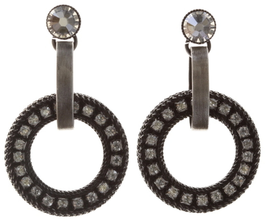 earring stud dangling Rock 'n' Glam white antique silver