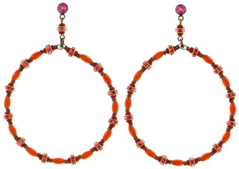 earring stud dangling Glamour d'Afrique orange antique brass
