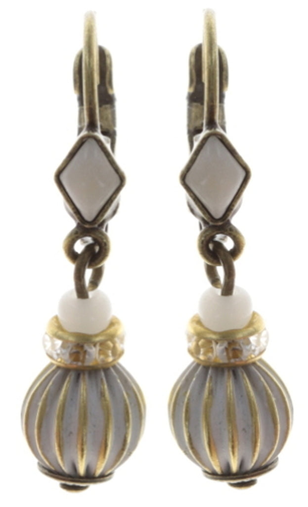 earring eurowire dangling Oriental Bliss white antique brass