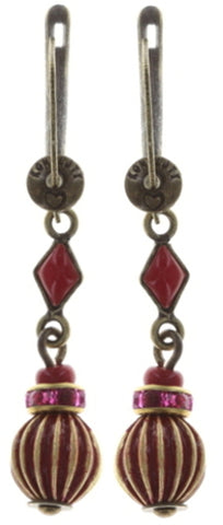 earring dangling Oriental Bliss red antique brass