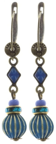 earring dangling Oriental Bliss blue antique brass