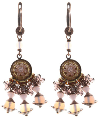 earring dangling Oriental Bliss pink antique copper