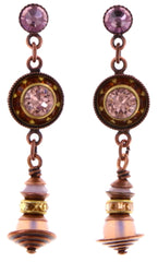earring stud dangling Oriental Bliss pink antique copper