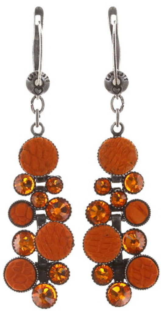 earring dangling Planet River orange antique silver