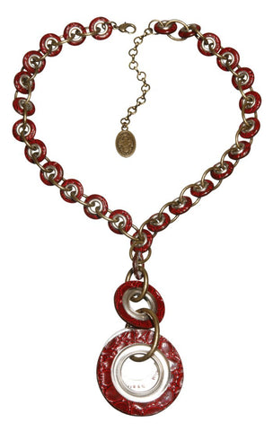 necklace-Y Eternal Rings red antique brass