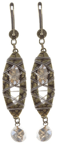 earring dangling Mad Max beige antique brass