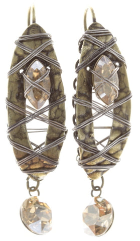 earring eurowire dangling Mad Max beige antique brass