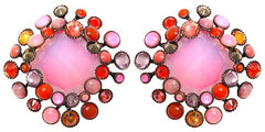 earring clip Alien Caviar pink/orange antique copper
