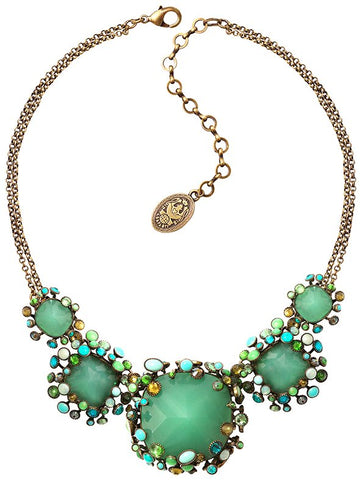 necklace Alien Caviar green antique brass