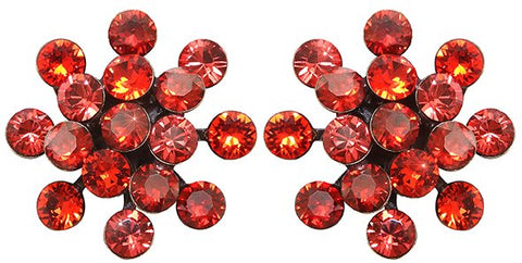 earring stud Magic Fireball multi red antique brass