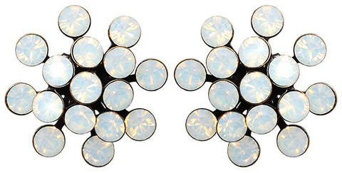 earring stud Magic Fireball white antique brass