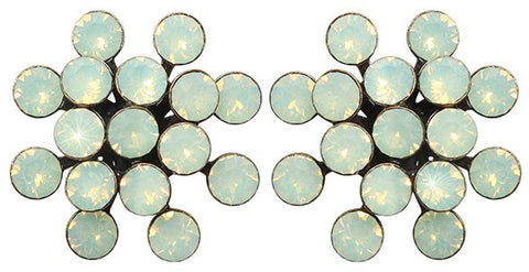 earring stud Magic Fireball light green antique brass