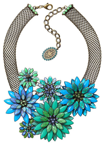 necklace collier Psychodahlia blue/green antique brass