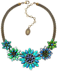 necklace Psychodahlia blue/green antique brass medium, small, extra small