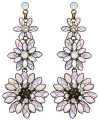 earring stud dangling Psychodahlia white antique brass small, extra small, smallest