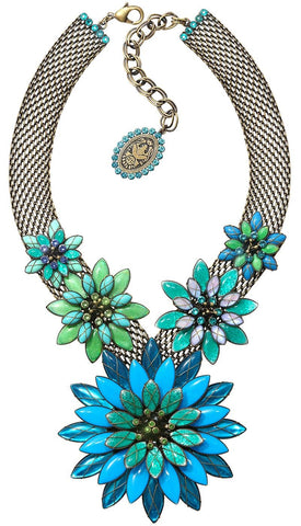 necklace Psychodahlia blue/green antique brass extra large, medium, small