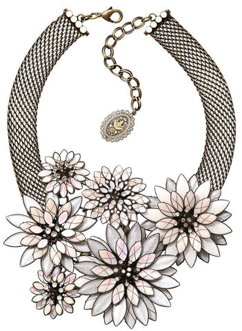 necklace collier Psychodahlia white antique brass