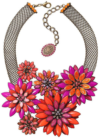 necklace collier Psychodahlia orange/lila antique brass