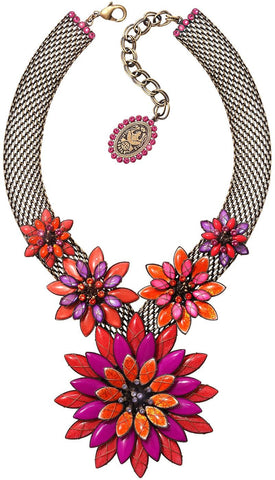 necklace Psychodahlia orange/lila antique brass extra large, medium, small