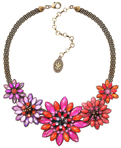 necklace Psychodahlia orange/lila antique brass medium, small, extra small