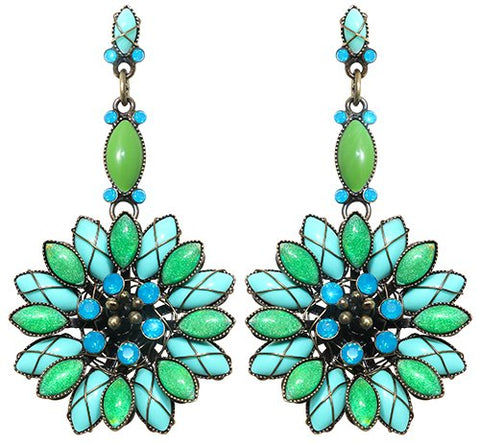 earring stud dangling Psychodahlia blue/green antique brass small