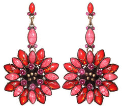 earring stud dangling Psychodahlia orange/lila antique brass small