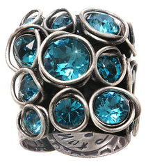 ring Sparkle Twist blue/green antique silver