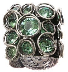 ring Sparkle Twist green antique silver