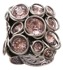 ring Sparkle Twist beige/pink antique silver