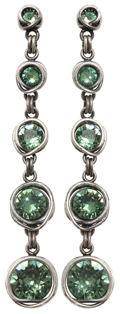 earring stud dangling Sparkle Twist green antique silver
