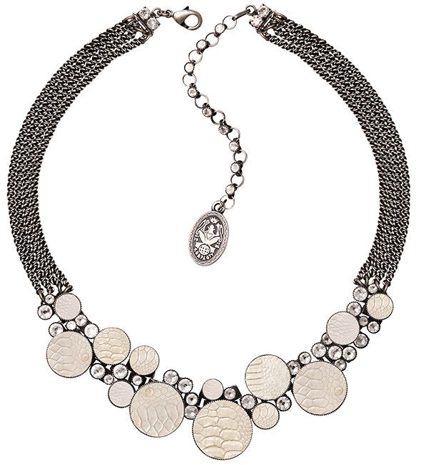 necklace Planet River white antique silver