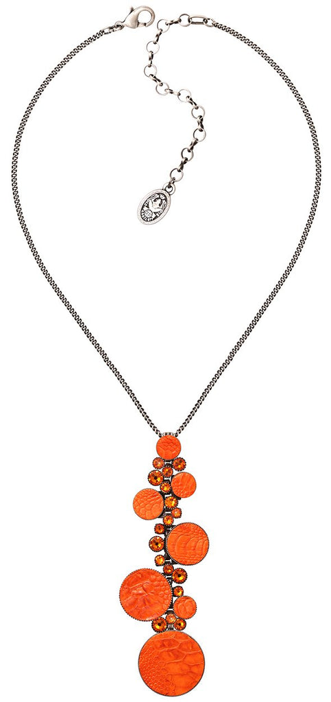 necklace pendant Planet River orange antique silver