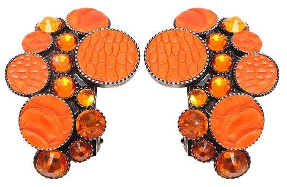 earring clip Planet River orange antique silver