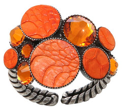 ring Planet River orange antique silver