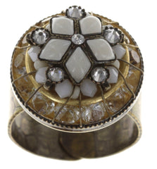 ring Oriental Bliss white antique brass
