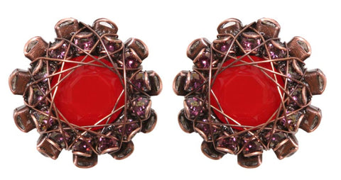 earring eurowire In Honor of the Rose red antique copper small