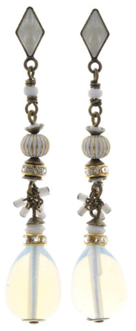 earring stud dangling Oriental Bliss white antique brass