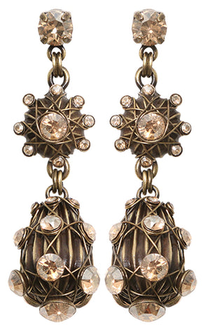 earring stud dangling Oriental Architecture beige antique brass