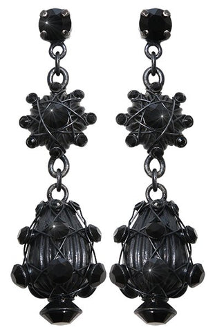 earring stud dangling Oriental Architecture black dark antique silver