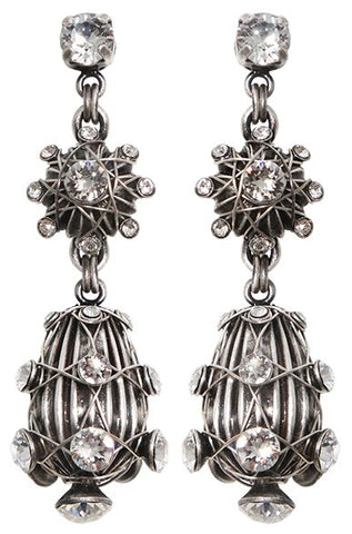 earring stud dangling Oriental Architecture white antique silver