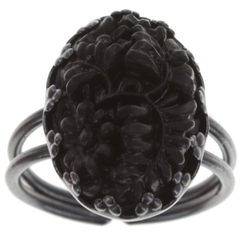 ring Liam black dark antique silver