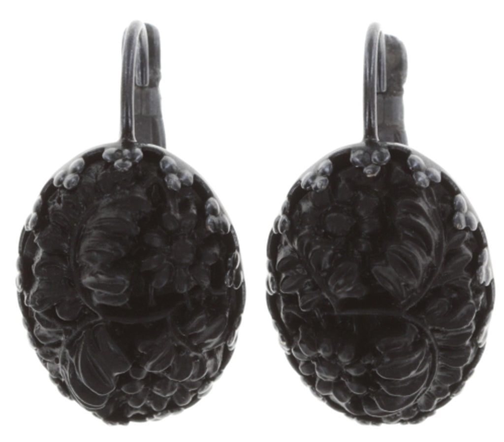 earring eurowire Liam black Dark Antique Silver